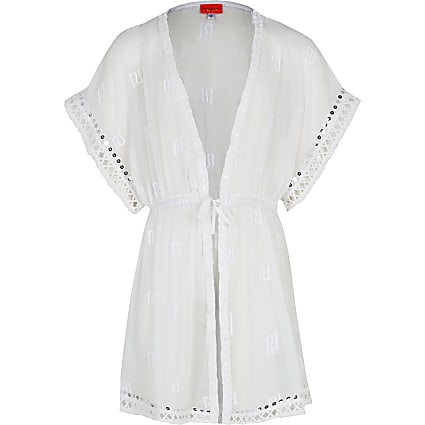 Girls white RI trimmed kaftan