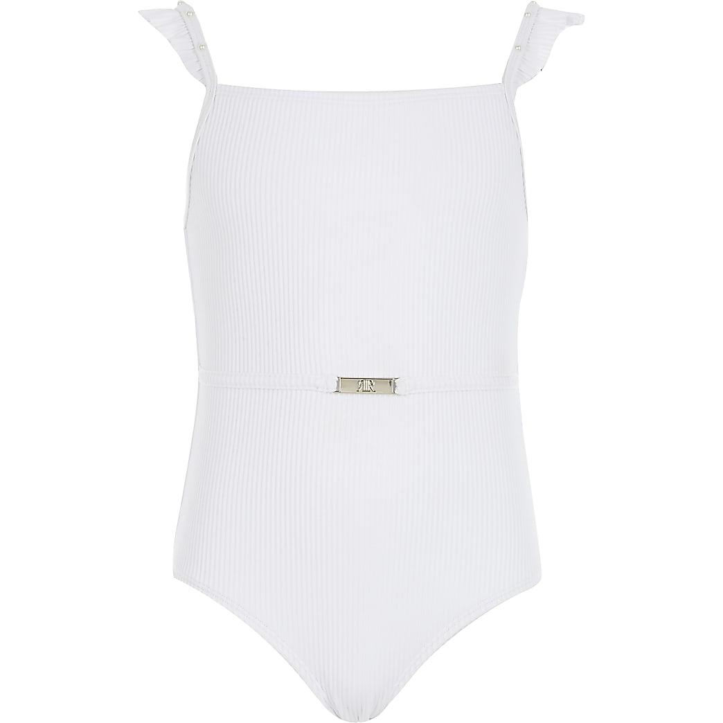 Wit geribbeld zwempak met ruches voor meisjes
