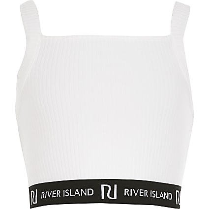 Girls white ribbed RI cropped top