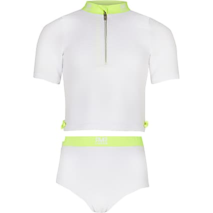 Girls white ribbed 'RVR' 2 piece set