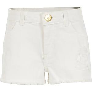 Witte relaxte rippedBecca denim short voor meisjes