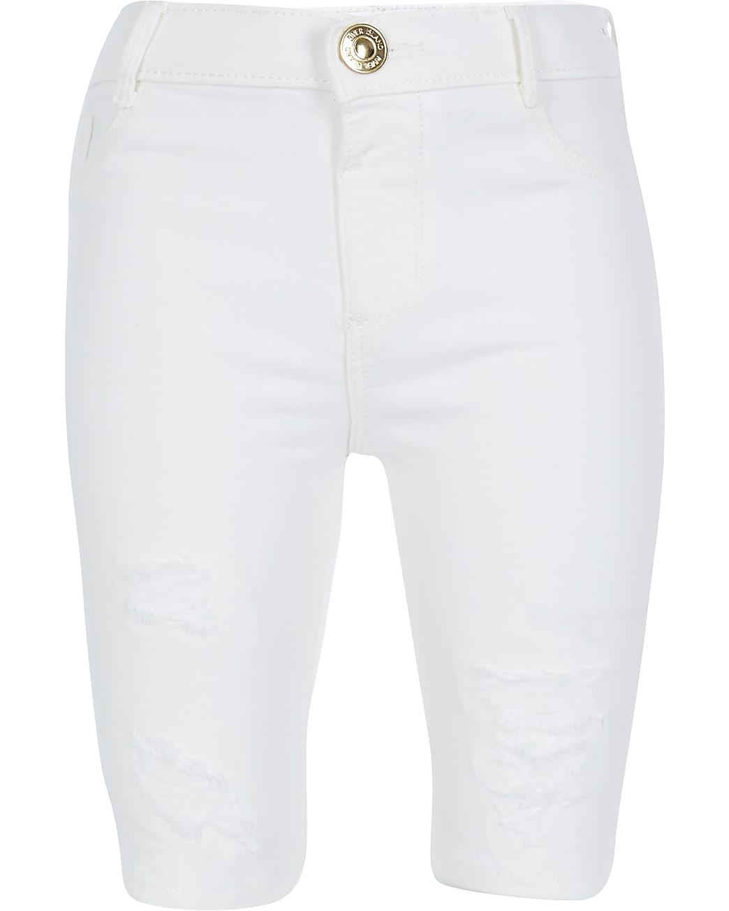 Girls white ripped denim cycling short