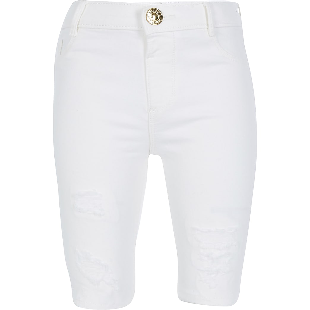 Girls white ripped denim cycling short