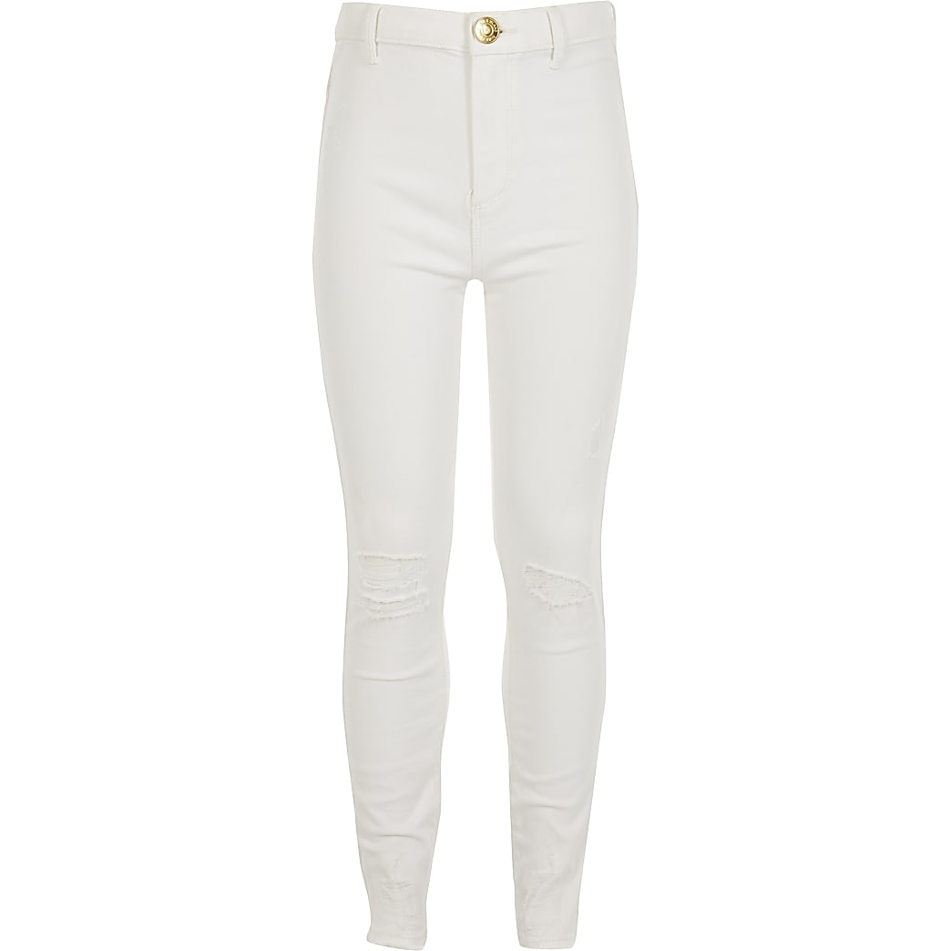 Girls white ripped Kaia high rise jeggings