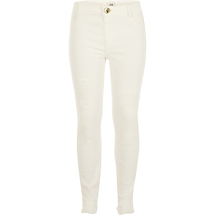 Girls white ripped Molly mid rise jegging