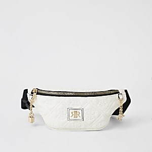 Girls white RIR embossed bumbag