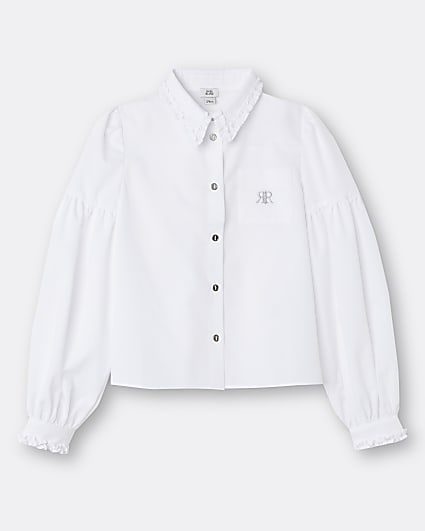 Girls white RIR frill collar shirt