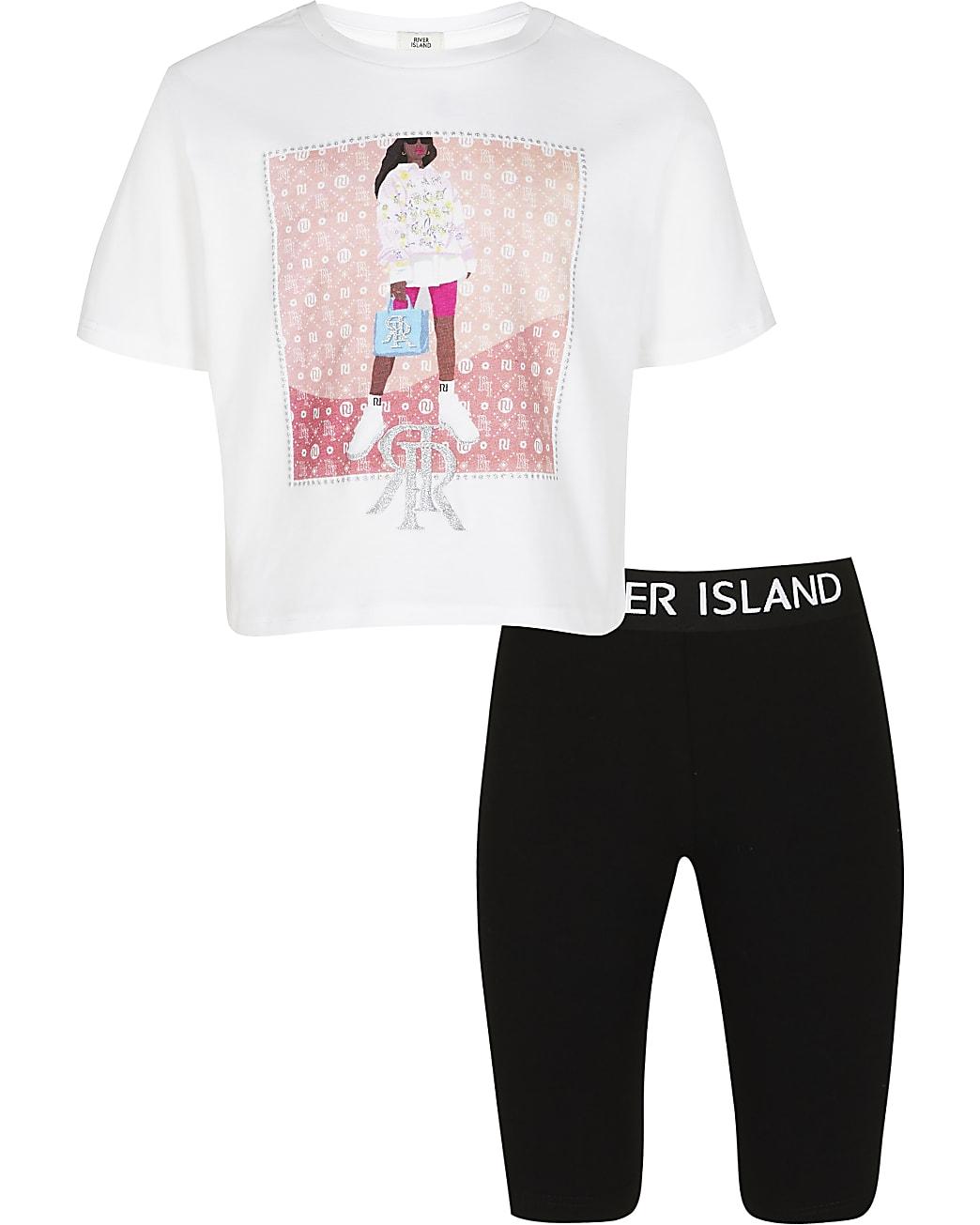 Girls white RIR graphic t-shirt and leggings