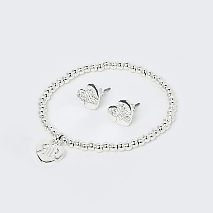 Girls white RIR heart bracelet & earrings set