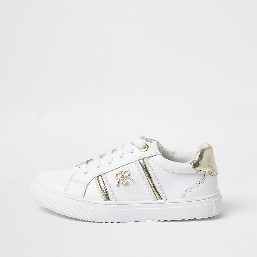Girls white RIR pearl trim trainers