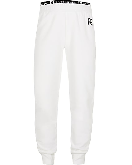 Girls white RIR print joggers