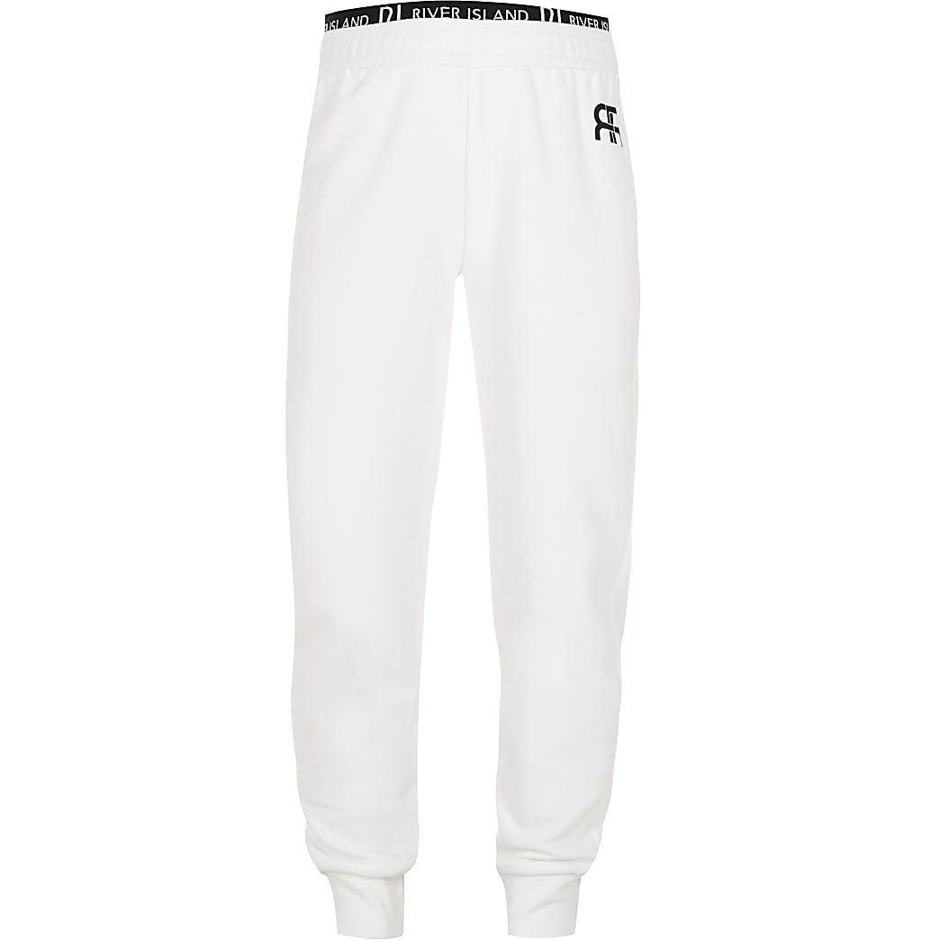 Girls white RIR print joggers