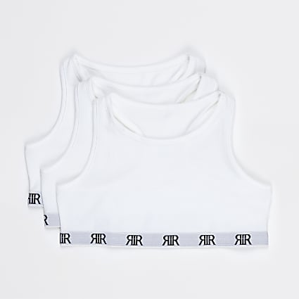 Girls white RIR racer crop tops 3 pack