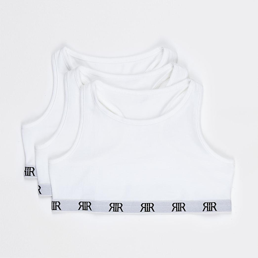 Girls white RIR racer crop tops 3 pack