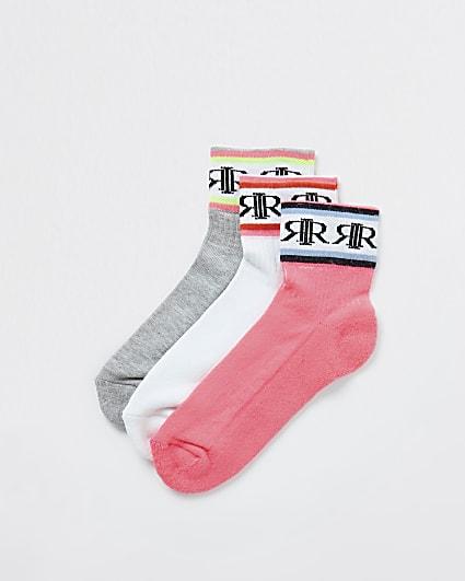 Girls white RIR sport socks 3 pack