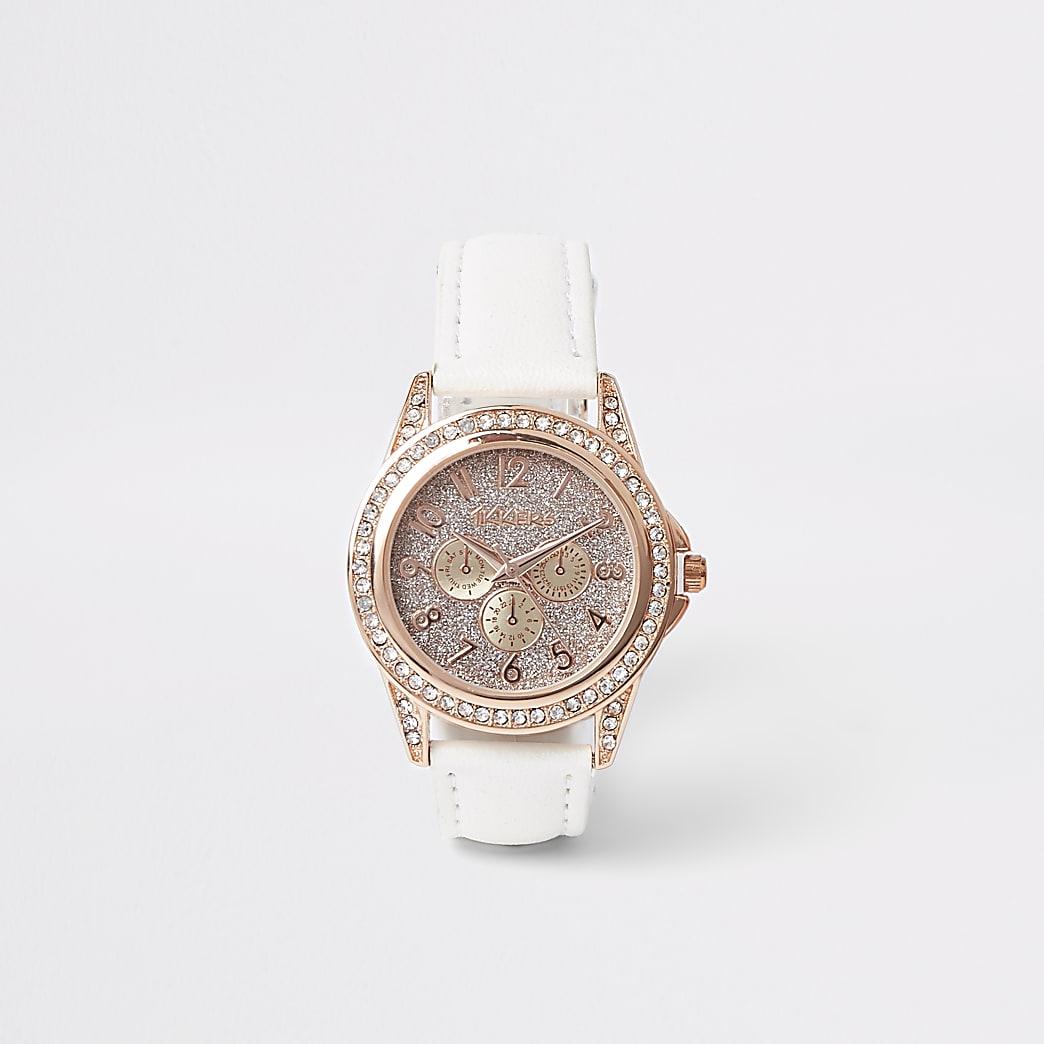 Wit met roségoudkleurig horloge met diamantjes voor meisjes