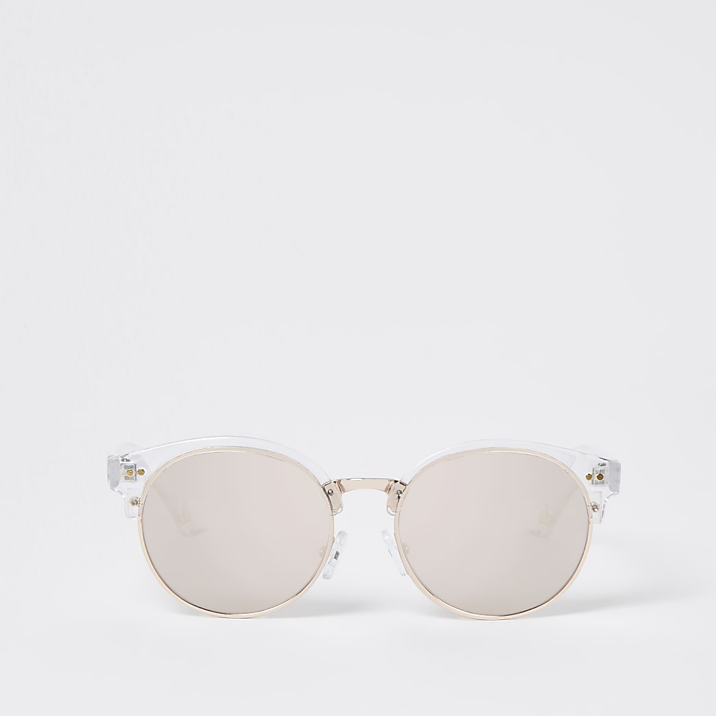 Girls white round sunglasses