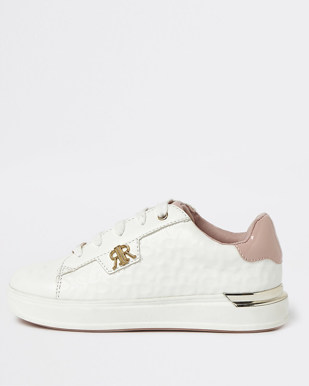 Girls white RR lace up trainers