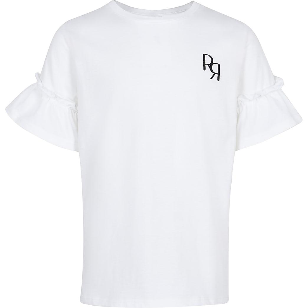 Girls white RR ruffle sleeve t-shirt