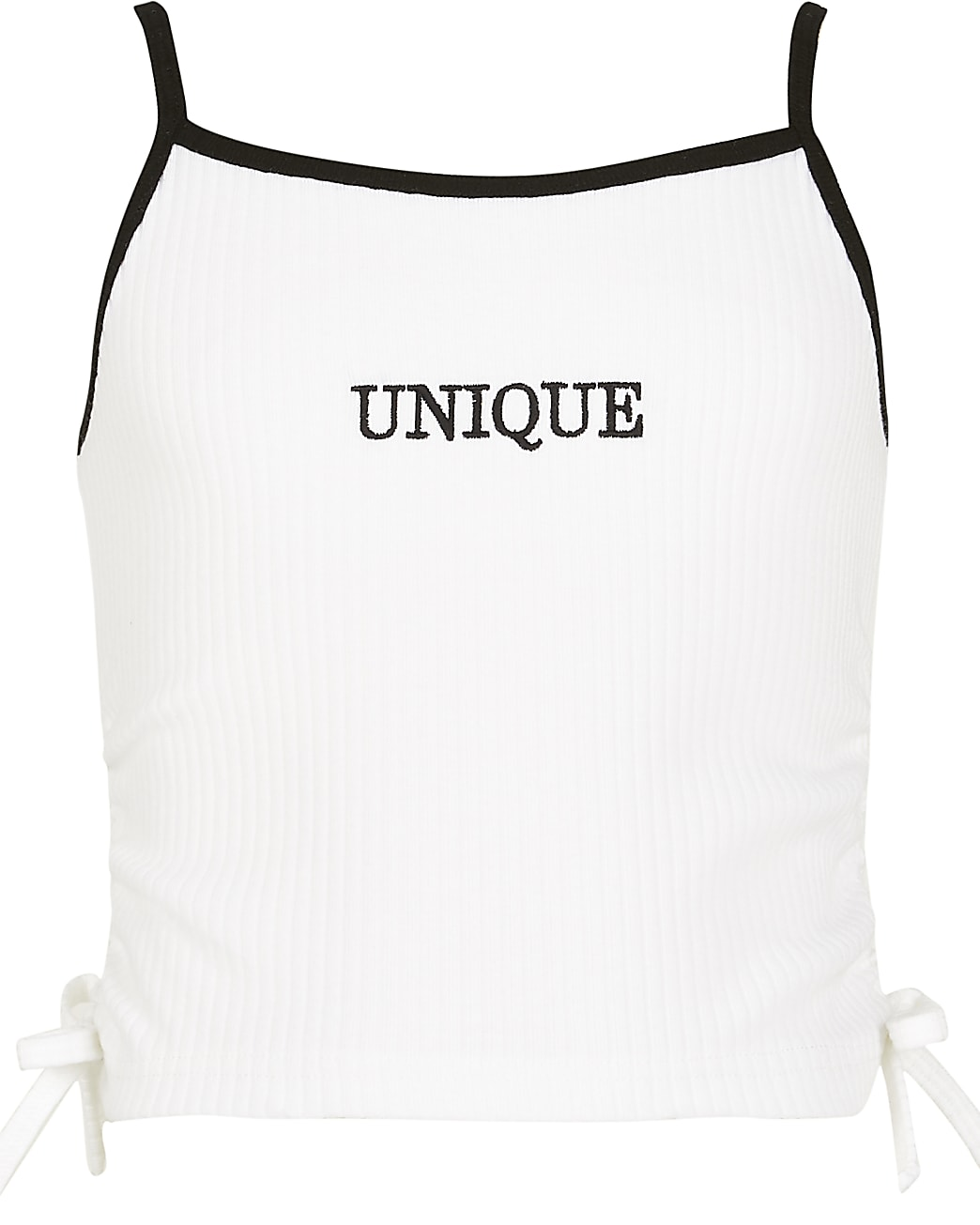 Girls white ruched cami top