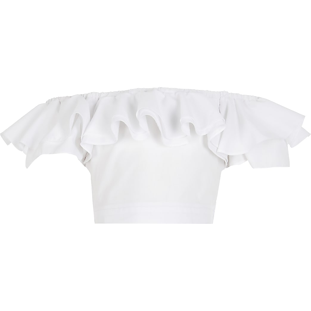 Girls white ruched frill crop top
