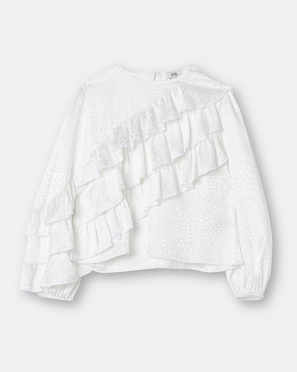 Girls white ruffle animal print blouse