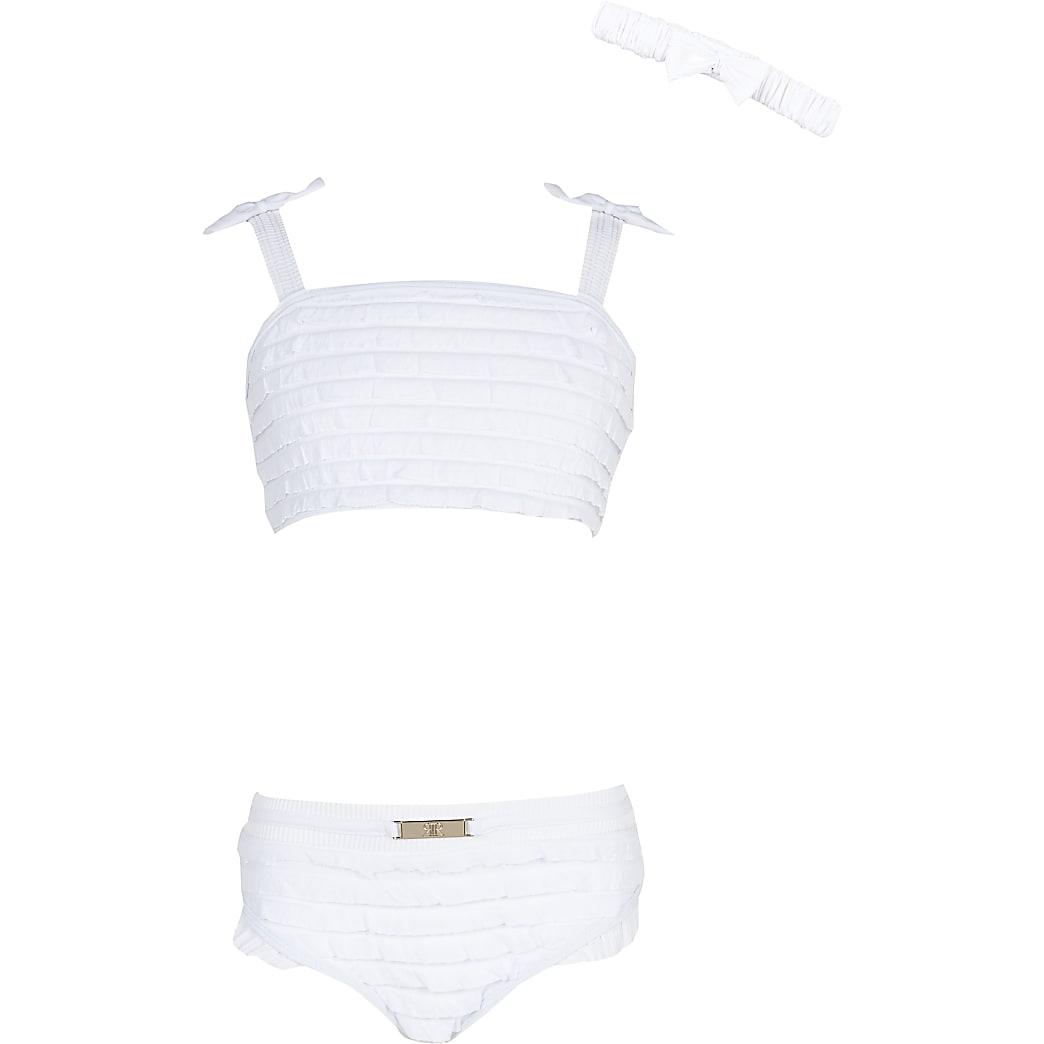 Girls white ruffle bikini set