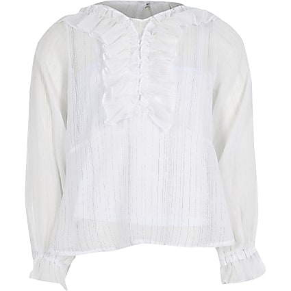 Girls white ruffle peplum blouse