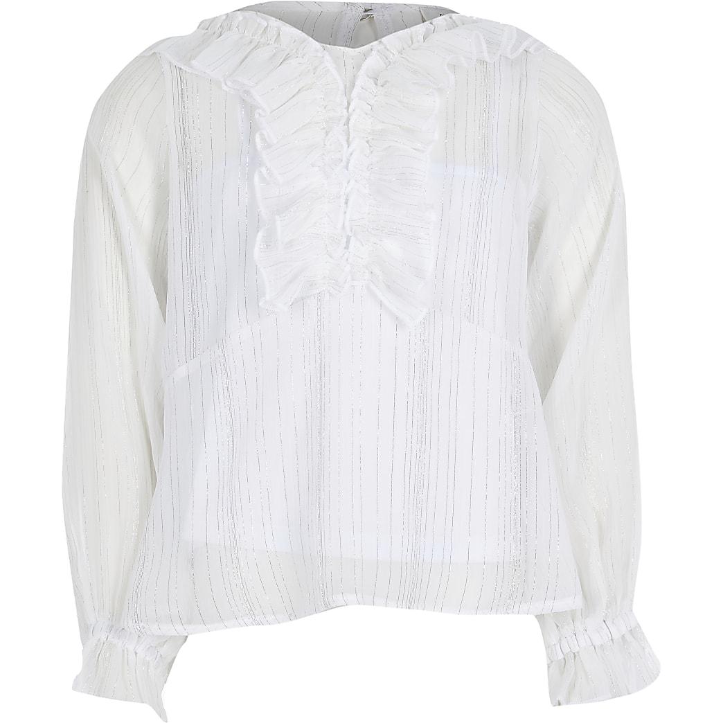 Girls white ruffle peplum blouse