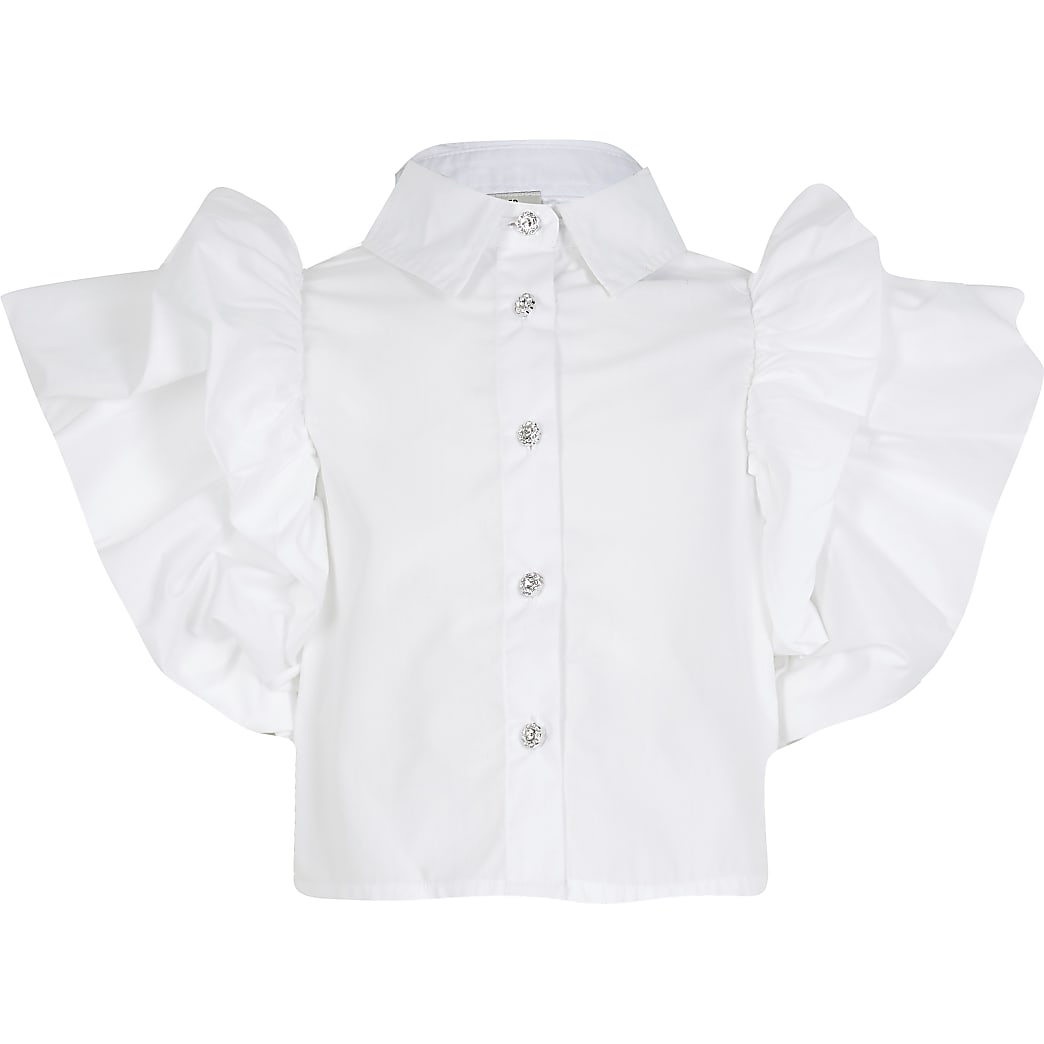 Girls white ruffle sleeve blouse