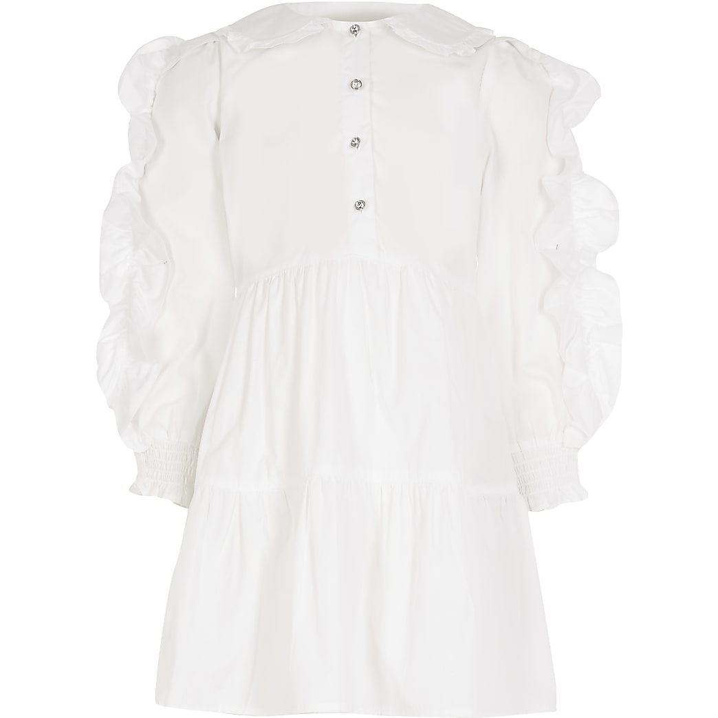 Girls white ruffle smock shirt dress