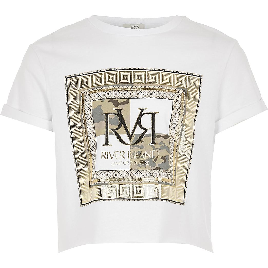 Girls white RVR print cropped T-shirt