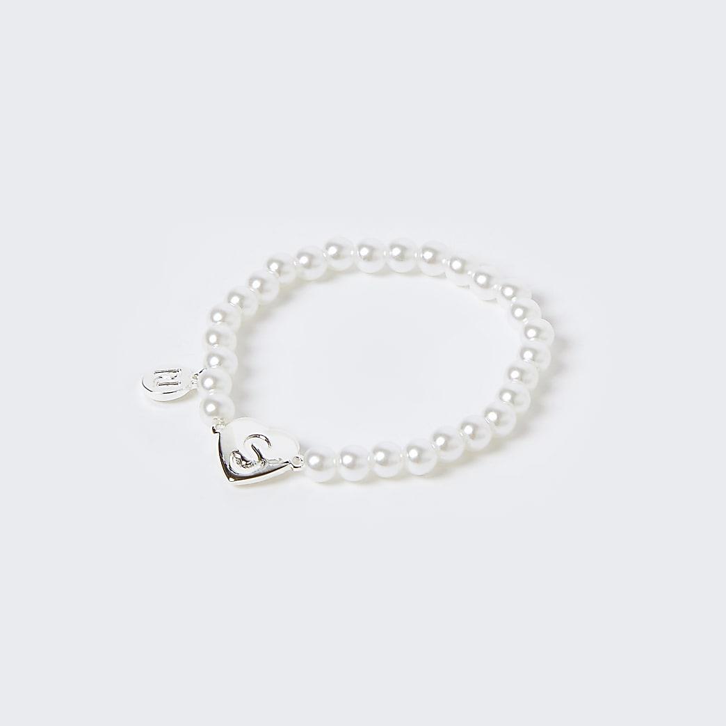 Girls white S initial bracelet
