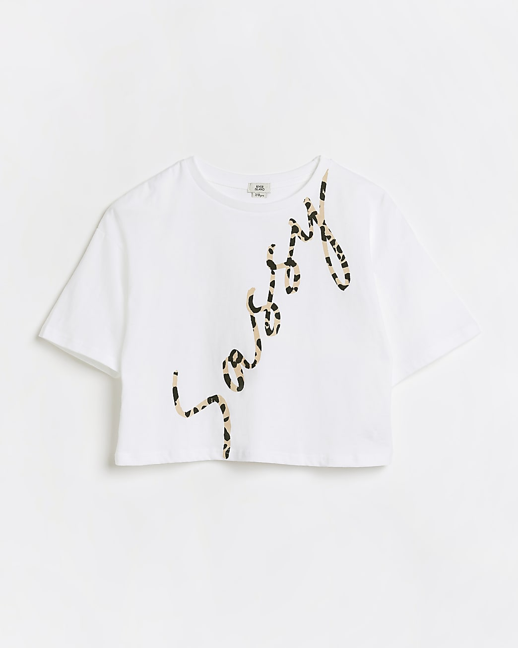 Girls white 'Sassy' leopard print t-shirt