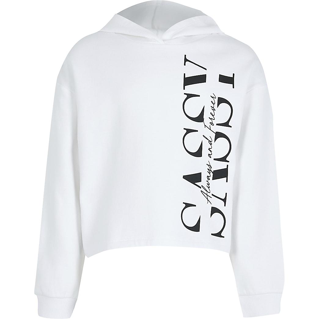 Girls white 'Sassy' print hoodie