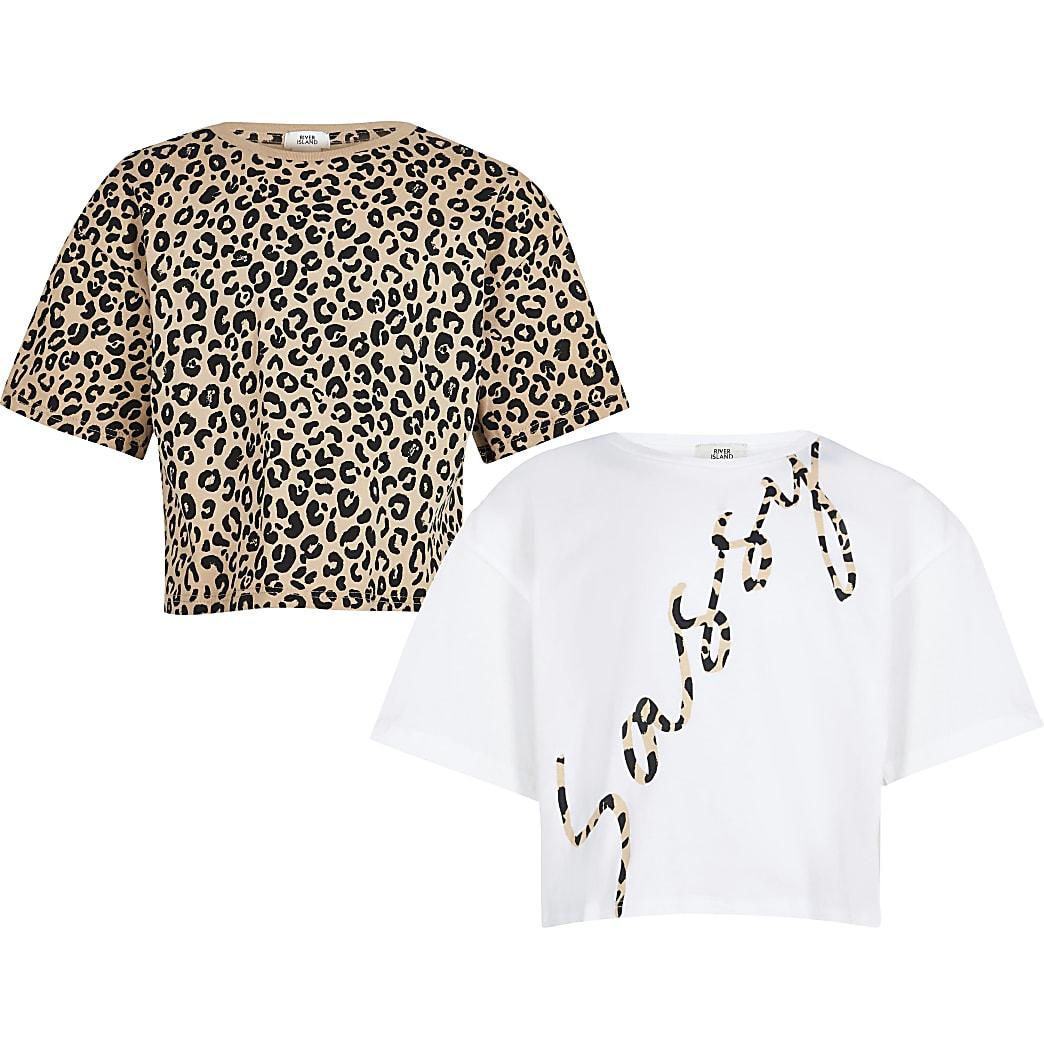 Girls white 'Sassy' print t-shirt 2 pack