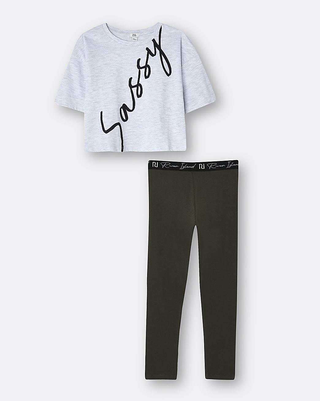 Girls white 'Sassy' t-shirt and leggings set
