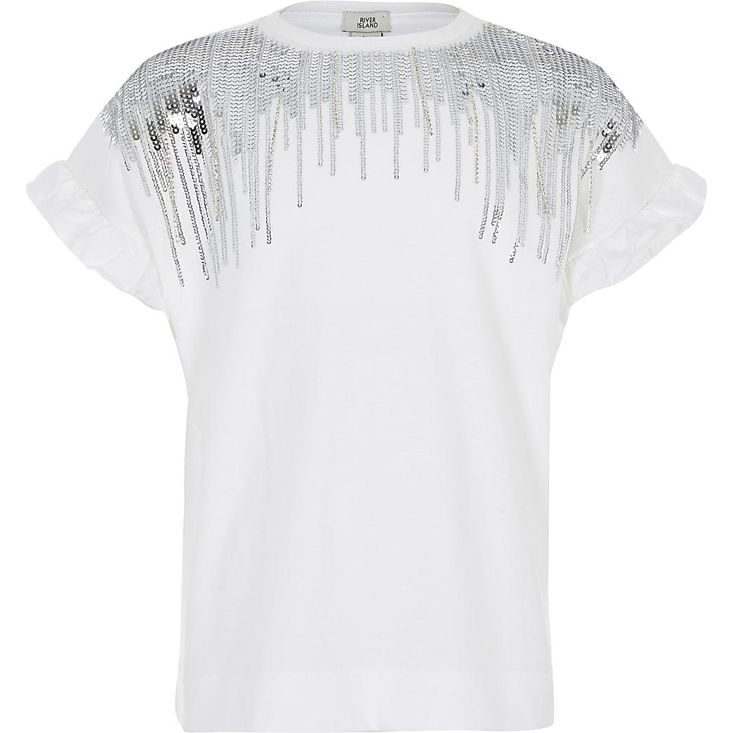 Girls white sequin embellished fringe T-shirt