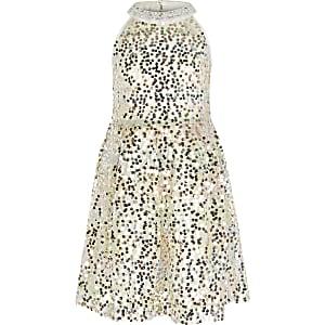 Robe de gala ornée de sequins blanche pour fille