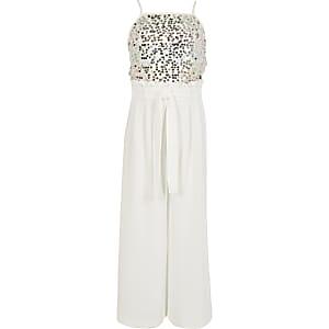Witte jumpsuit met strikceintuur en pailletten voor meisjes