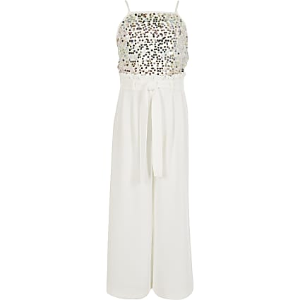 Girls white sequin tie belted jumpsuit