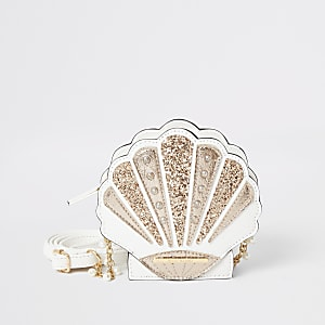 Witte schelpvormige tas met glitterversiering voor meisjes