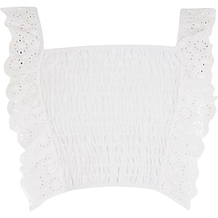 Girls white shirred broderie frill crop top