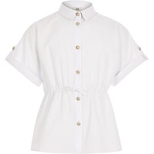 Wit getailleerd overhemd met korte mouwen voor meisjes