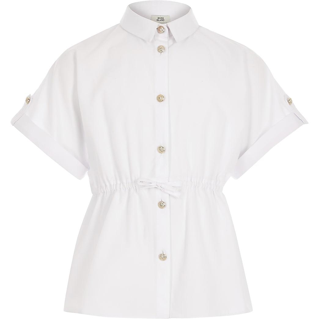 Girls white short sleeve waisted shirt