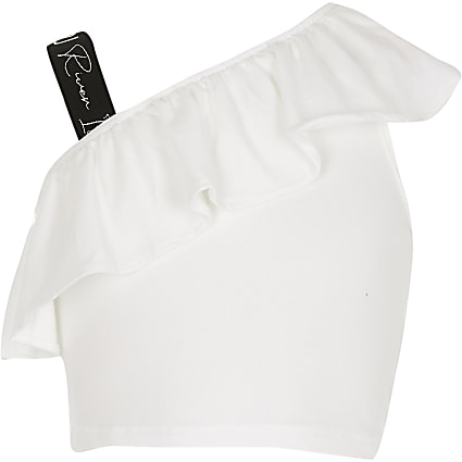 Girls white shoulder crop top