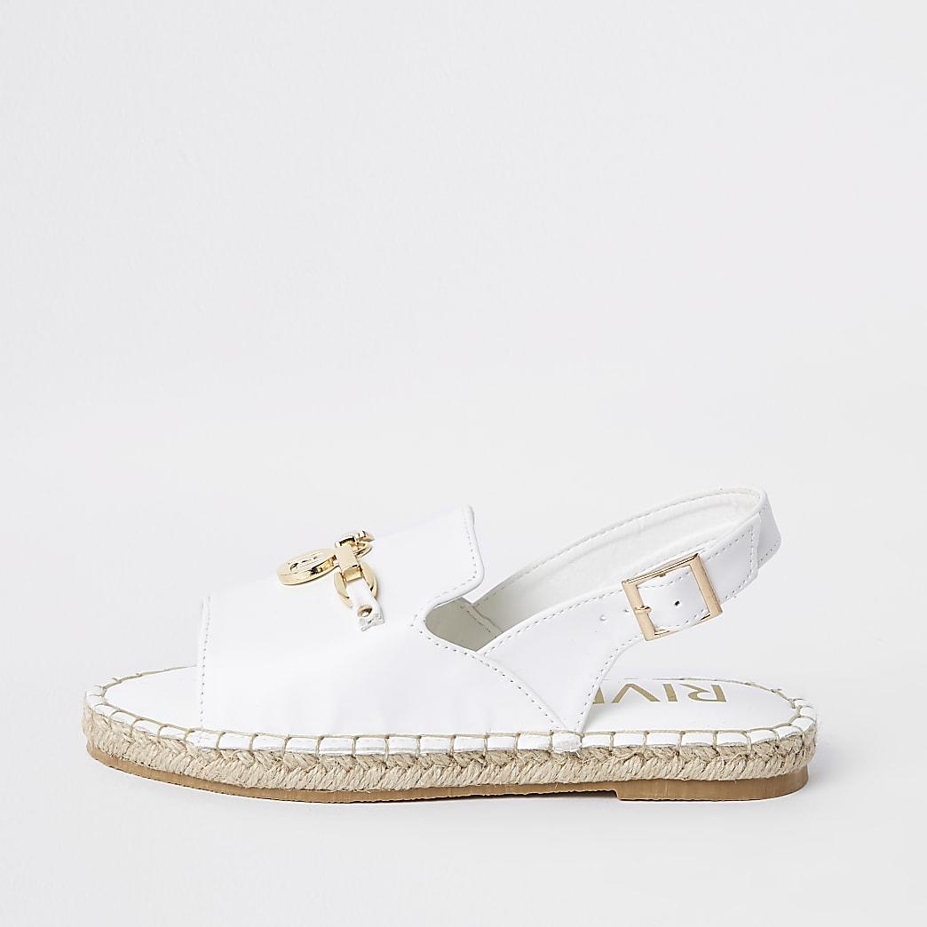 Girls white sling back espadrille sandals