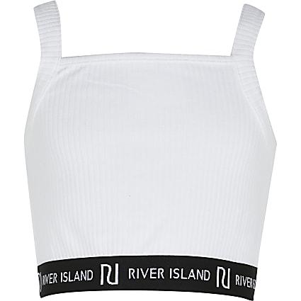 Girls white square neck RI cropped vest