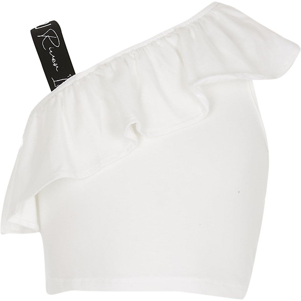Girls white strap shoulder crop top