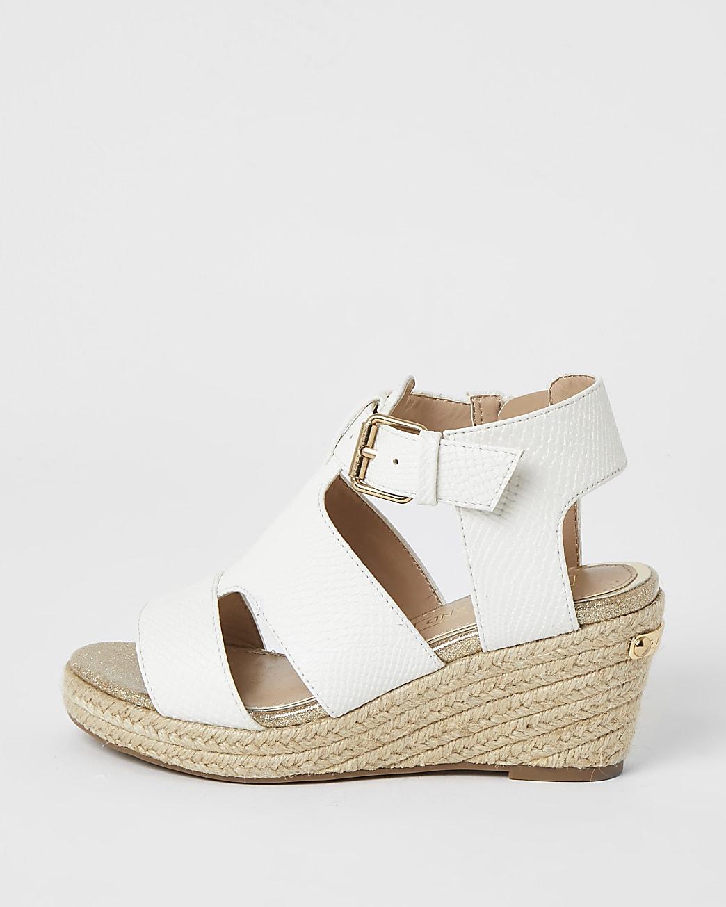 Girls white strappy wedge sandals